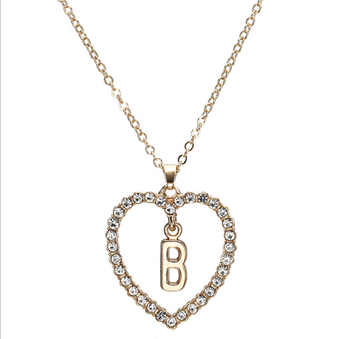 Gold Diamante Heart Shape Initial Pendant Necklace gallery 3