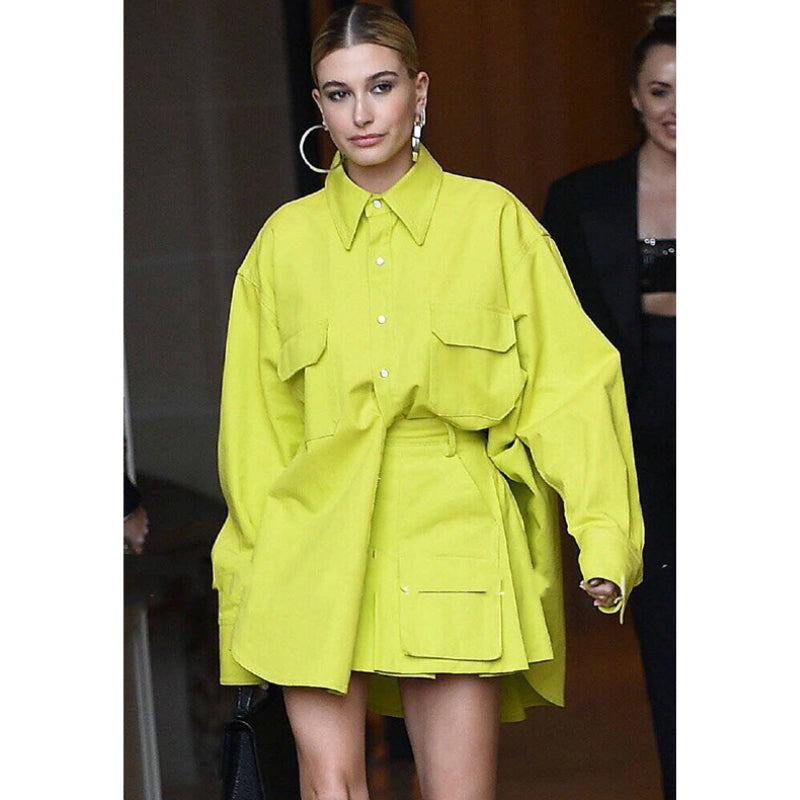 Neon Yellow Oversized Shirt Design Blazer