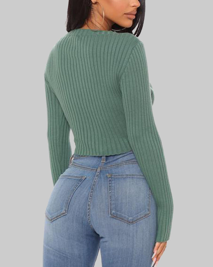 Rib Knit V Neck Form Fitting Crop Sweater gallery 4
