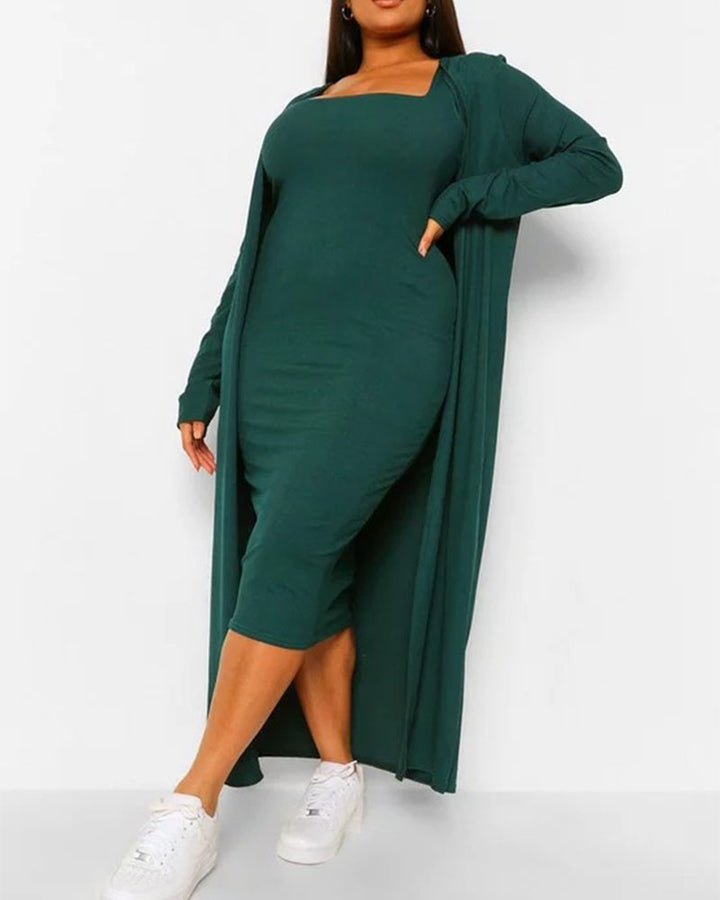 Solid Square Neck Dress & Cardigan Set gallery 3