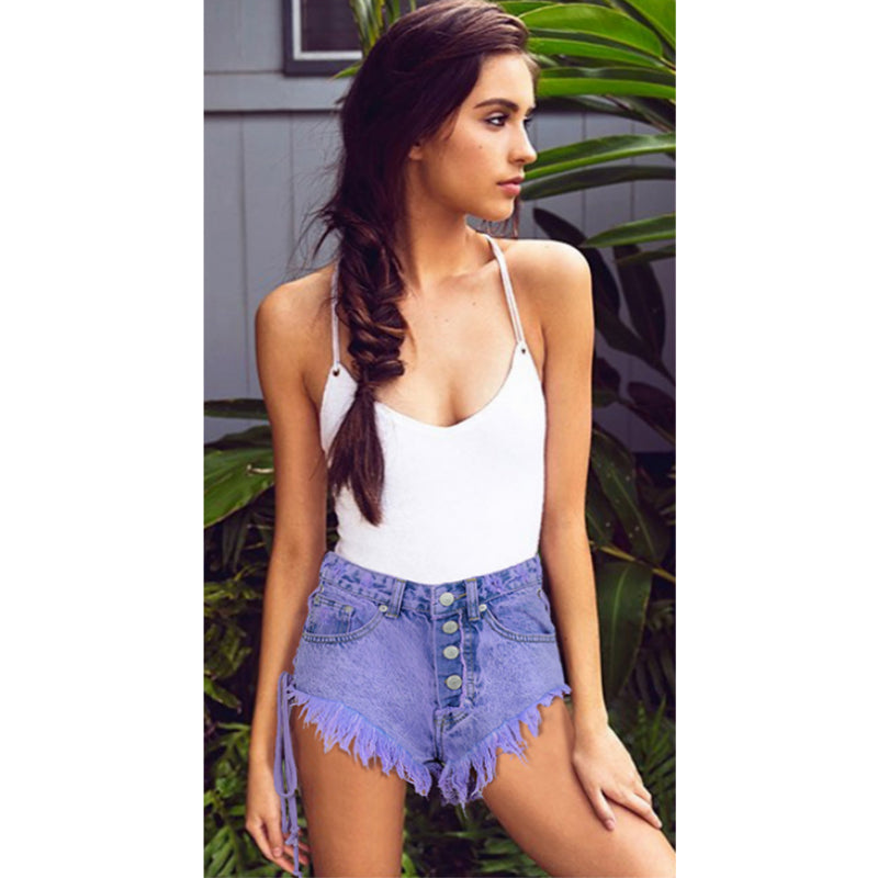 High Waist Button Front Ripped Ribbon Side Denim Shorts