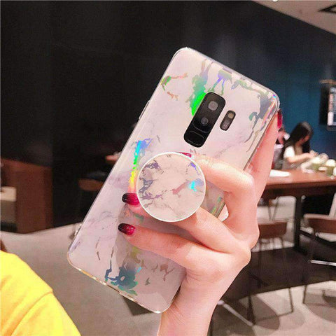 Marble Design Ceramic Pattern Super Slim Cover Jade Image Shell Phone Case for Samsung with Phone Holder gallery 4