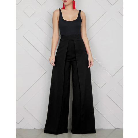 Ruffle Wide Leg Zipper Back Pants