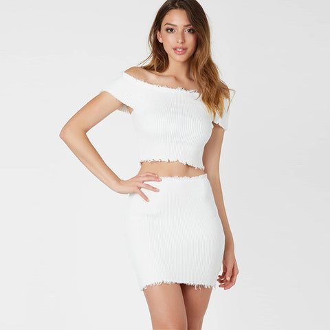 Sexy Off Shoulder Shredded Short Sleeve Sweater Suit