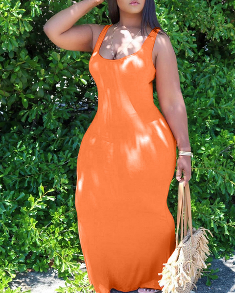 Solid Color Sleeveless Maxi Dress gallery 1