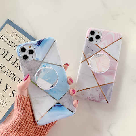 Stitching Plaid Marble Phone Case for Samsung with Phone Holder gallery 1