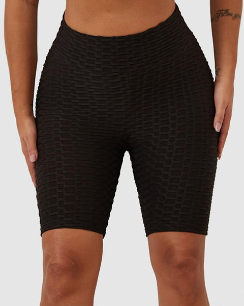 Solid Textured Hip Lifting Shorts gallery 5
