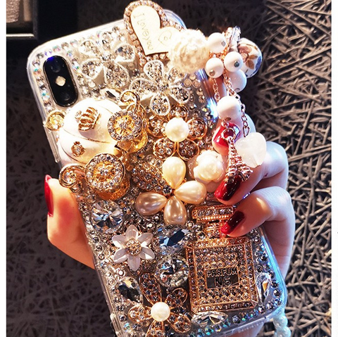 Luxury Bottle & Full Rhinestone Cover Phone Case for Samsung with Hand Strap gallery 2