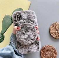 Fur Style Round Mirror Back Design iPhone Case