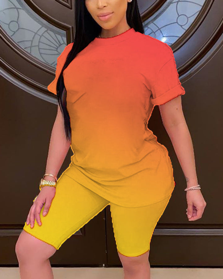 Ombre Short Sleeve Top & Shorts Set gallery 1