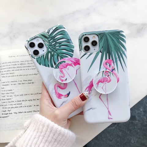 Flamingo Print iPhone Case with Phone Holder