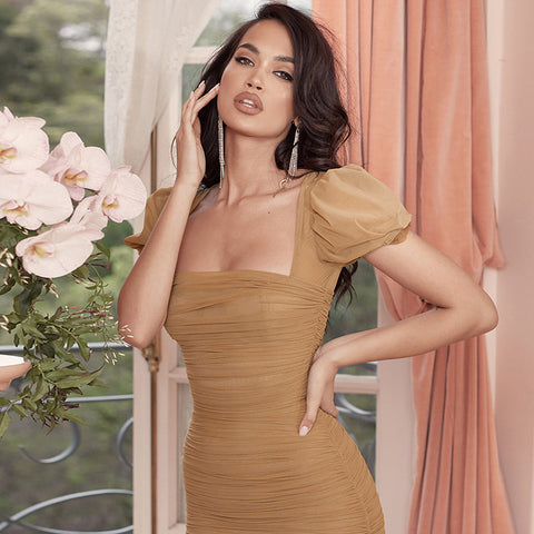 Sexy Crop Shoulder Ruched Mesh Jersey Dress gallery 1