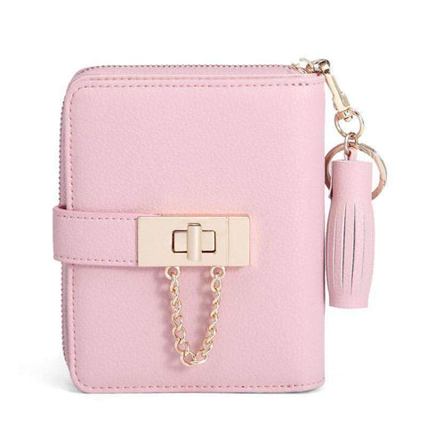 Cow Leather Cute Pink All-Match Short Sized Wallet With Chain And Tassel Element gallery 1