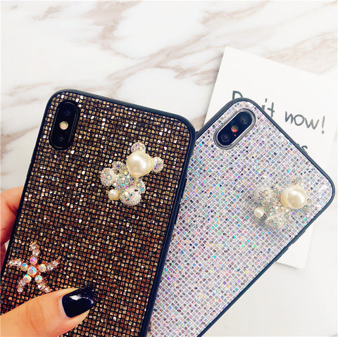 Bear & Starfish Pearl Deco Full Glittering Phone Case for Samsung gallery 13
