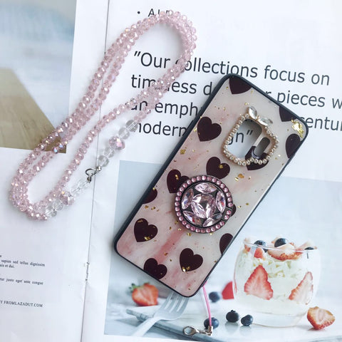 Vintage Heart Pattern Gold Foil Samsung Case with Phone Holder and Hand Strap gallery 2