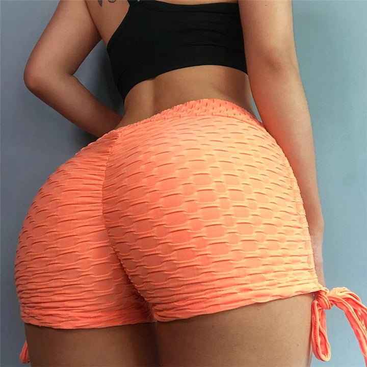 Solid Textured Tie Side Butt Lifting Shorts gallery 5