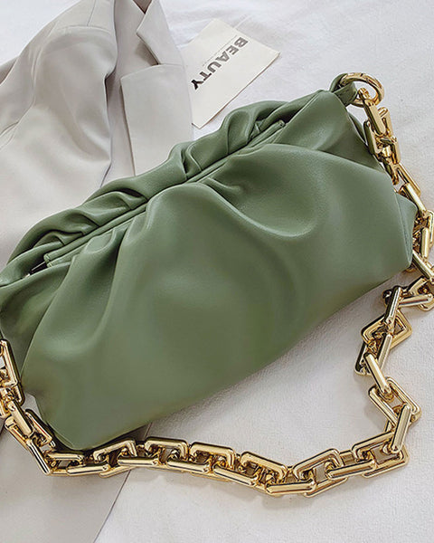 Solid Ruched Chain Bag
