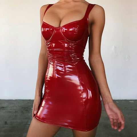 Sexy U-neck Red PU Leather Bodycon Mini Dress gallery 6