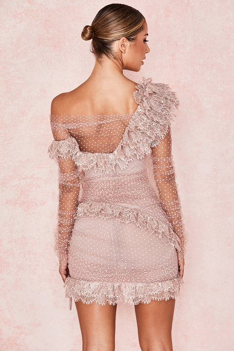One Shoulder Polka Dot Lace Detail Mesh Ruched Dress gallery 11