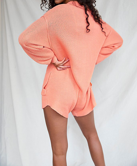 Button Up Pocket Side Rib-Knit Sweater Romper gallery 5