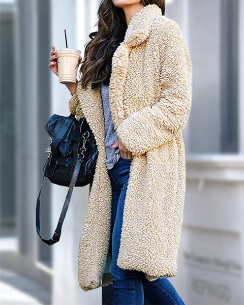 Fluffy Lapel Neck Solid Teddy Coat