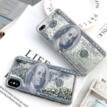 Transparent Dollars Print With Glitter Liquid Phone Case For All iPhone