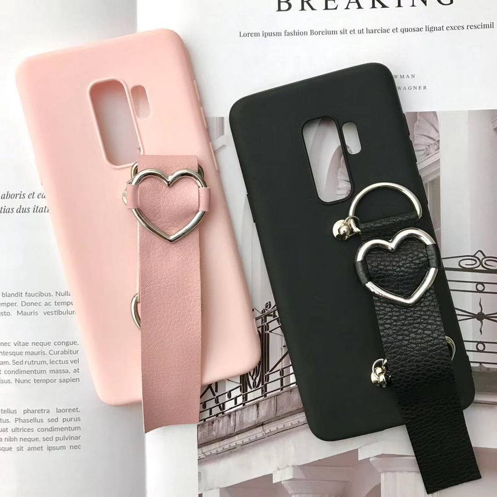 Solid Color Heart-Shaped Camera Phone Case for Samsung with Wrist Strap