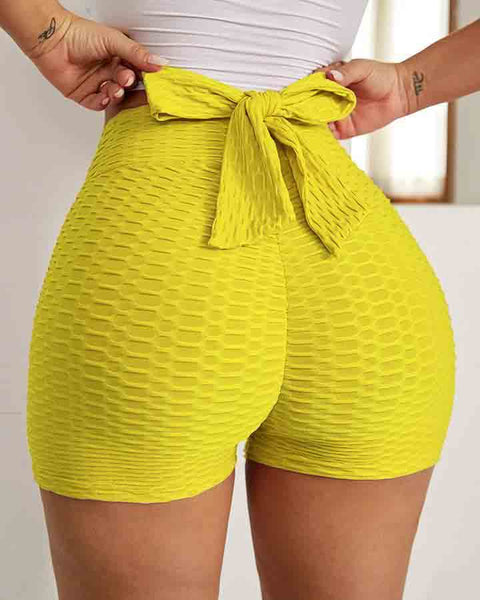 Textured Bow Tie Butt Lifting Sports Shorts gallery 4