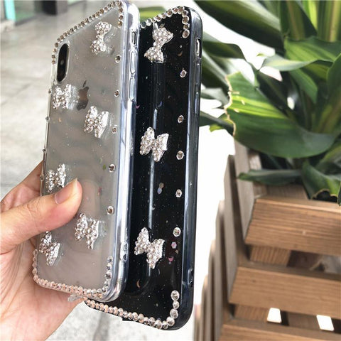 Little Bowknot Rhinestone Clear Transparent Phone Case for Samsung gallery 3