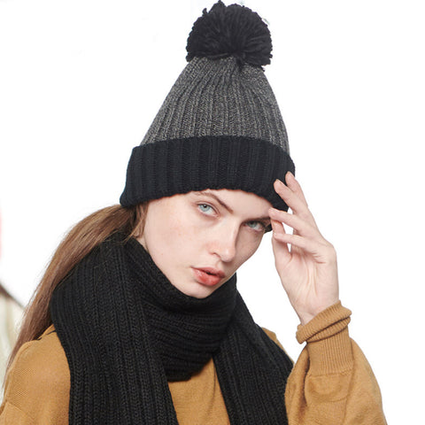 Pom Pom Decorated Knit Stitching Color Beanie Hat gallery 1