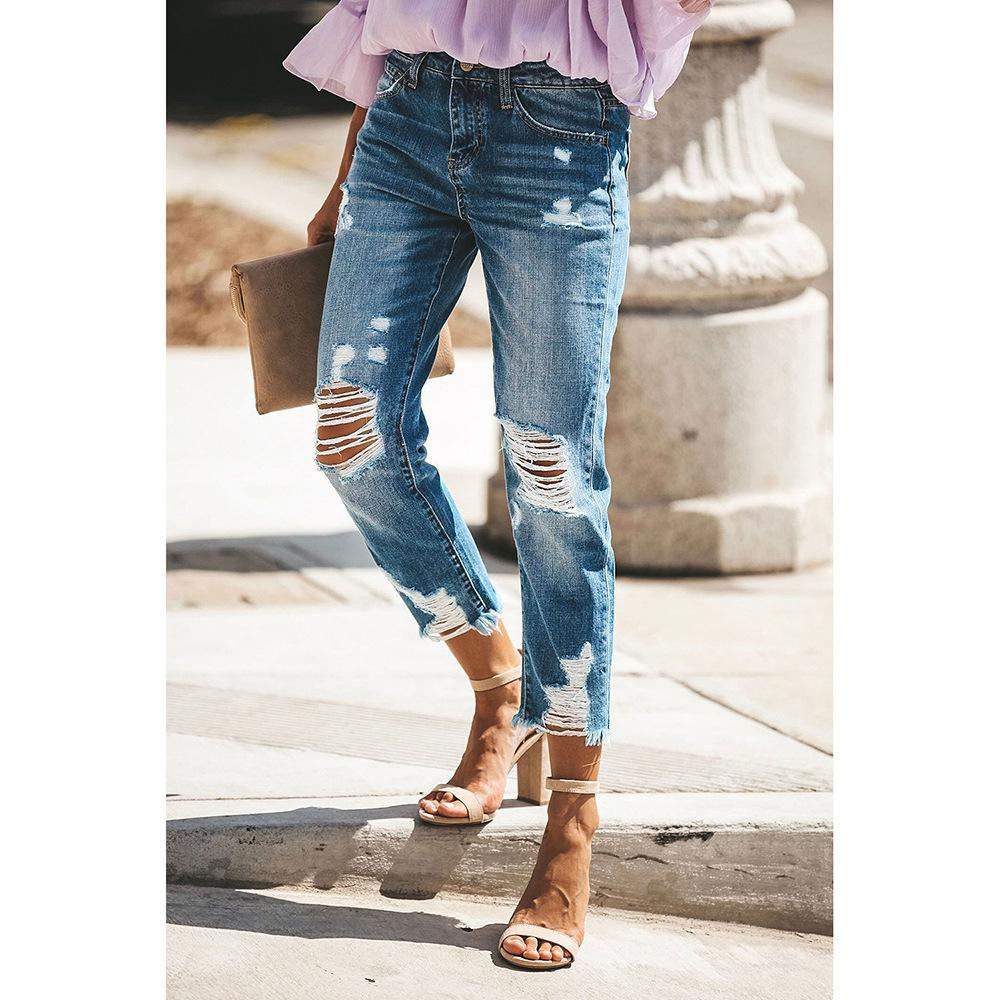 Ankle Rip Frayed High Waist Mom Jeans