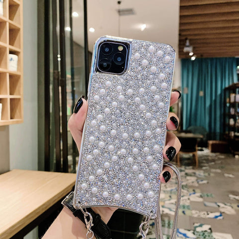 Sparkle Crystal Pearl Stud Phone Case for Samsung with Hand Strap gallery 7