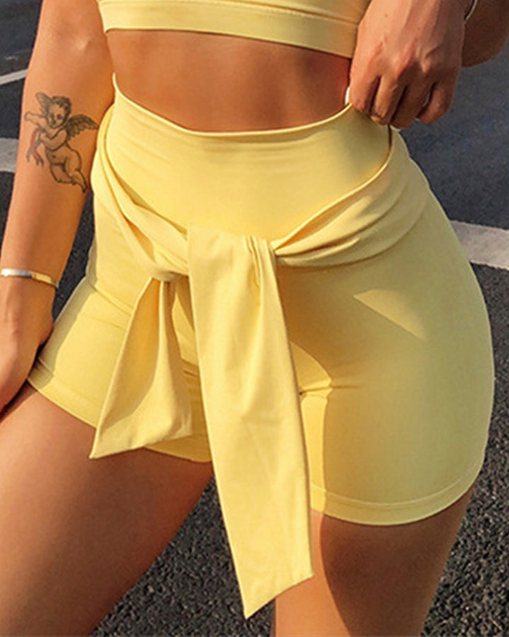 Wide Waistband Self-Tie Form Fitting Sports Shorts gallery 1