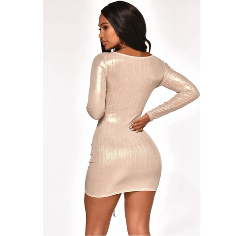 Metallic Cut Out Front Drawstring Ruched Mini Bodycon Dress gallery 2