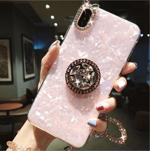 Elegant Shell Pattern Phone Case for Samsung with Artificial Rhinestone Diamond Phone Holder gallery 5