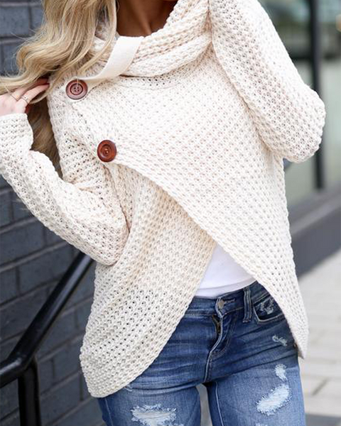 Chunky Rib-Knit Two Buttons Detail Sweater
