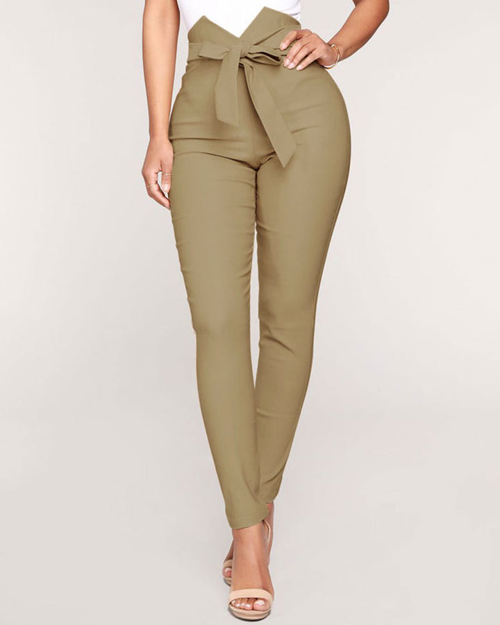 Solid Belt Tie V Wired High Waist Pants  gallery 1