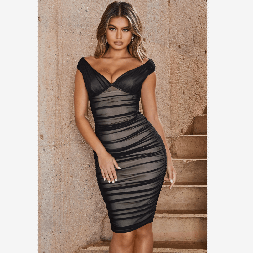 2 Colors Off Shoulder Deep V-Neck Mesh Ruched Bodycon Dress