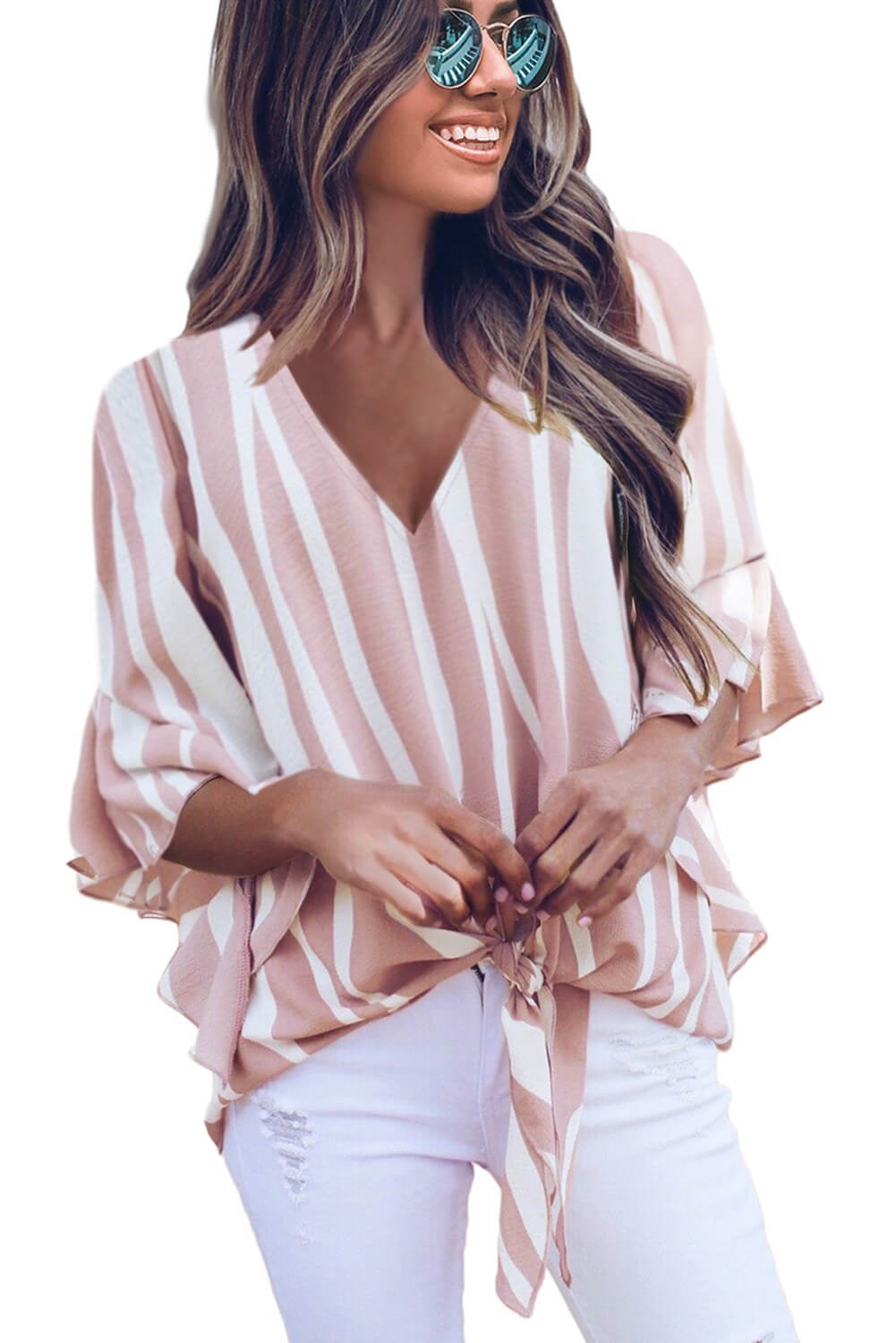 Pink Vertical Stripes V Neck 3/4 Sleeve Blouse