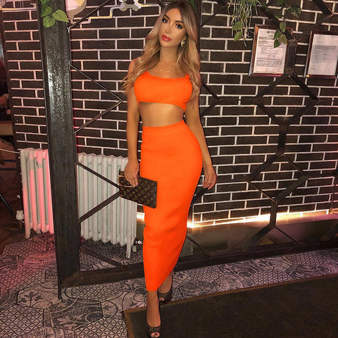 10 Colors Scoop Neck Cropped Top & Skirt Set gallery 8