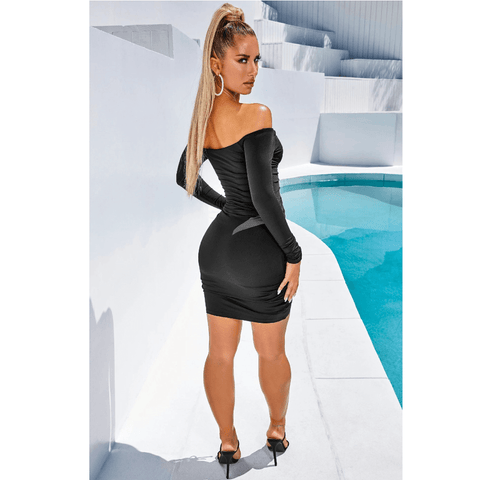 Solid Off Shoulder Drawstring Front Long Sleeve Mini Dress gallery 6