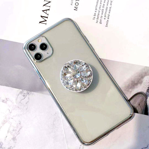 Transparent Design iPhone Case with Diamond Decorate Phone Holder