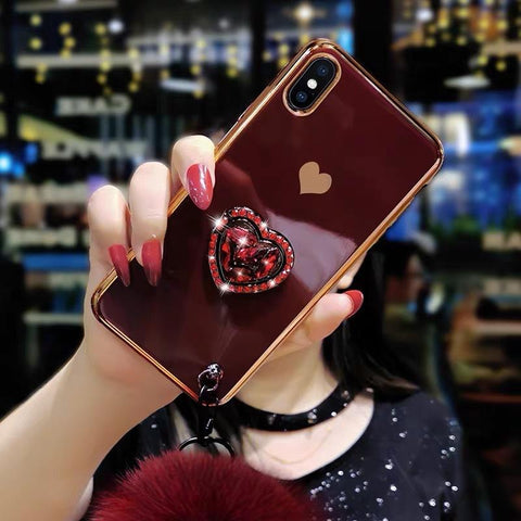 Electroplate Heart Rhinestone Phone Case for Samsung with Phone Holder and Pom-pom gallery 3