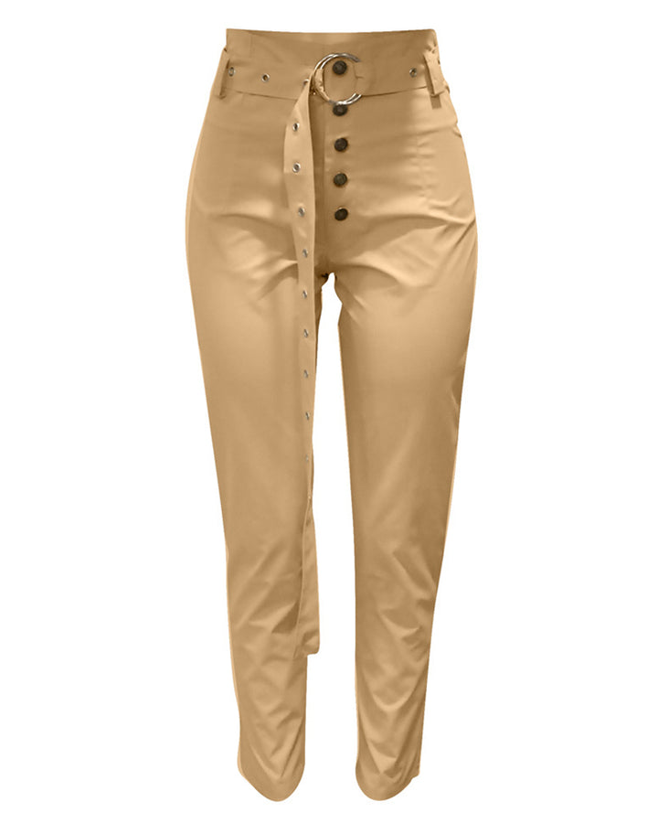 Solid Studded Button Front Pants With Belt gallery 4