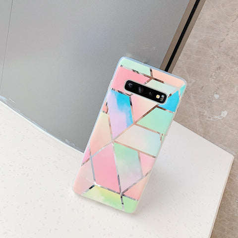 Color Block Electroplate Rhombus Marble Phone Case for Samsung gallery 2