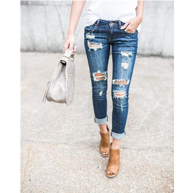 Distressed Skinny Cropped Jeans
