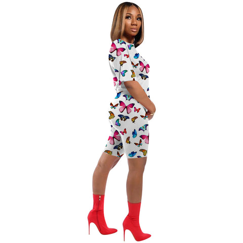Butterfly Print Round Neck Top & Shorts Set gallery 7