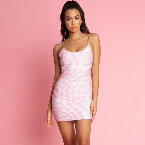 Pearl Twisted Strap Backless Pink Mini Dress gallery 1