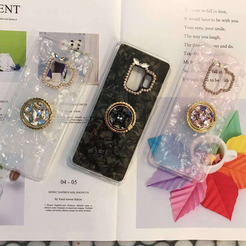 Glitter Foil Inside & Camera Protect With Rhinestone Side Phone Case for Samsung gallery 1