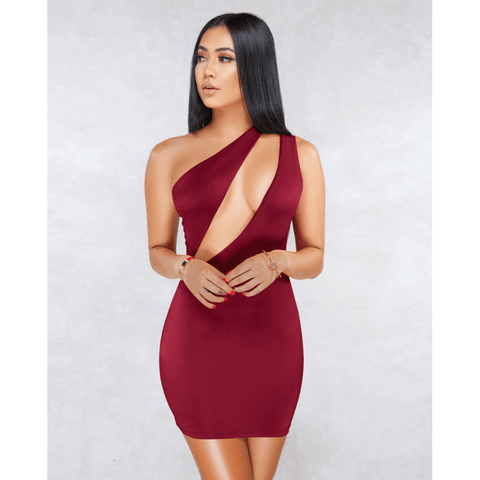 Sexy One Shoulder Bust Cut Out Bodycon Dress gallery 2